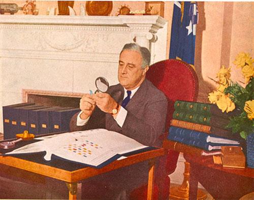 Stampcollector Franklin Delano Roosevelt